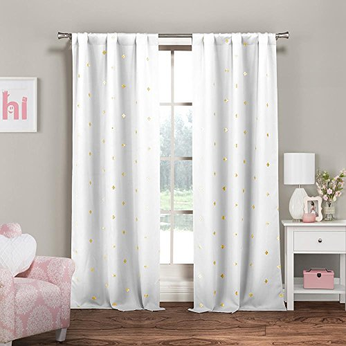 Pole Top Window Curtain Pair Panel Insulated Drapes For Bedroom/Livingroom/Kids/Children/Nursery - Metallic Clover Design - (Assorted Colors) 38 by 84 Inch, 2 Pieces - (White Gold Curtains)
