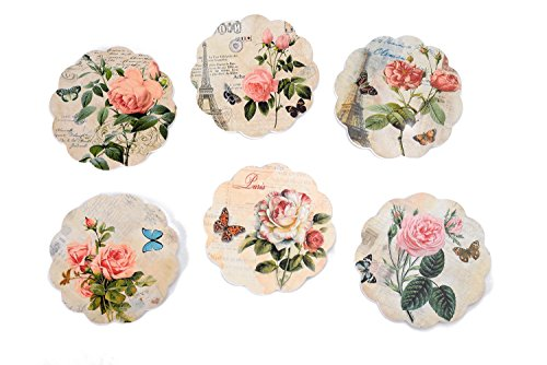 Giftale Set of 6 Wood Coasters for drinks with Holder,Great Gift Idea Coffee Mat - Rose Flower (Flowers Coasters)