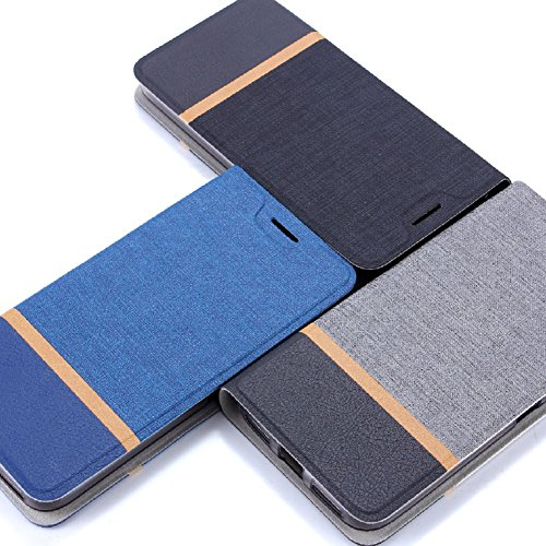 Funda para LG K8 2018, SunFay Cartera Carcasa Flip Folio Caja Piel PU Suave Super Delgado Estilo Libro,Soporte Plegable para LG K8 2018 - Negro Gris