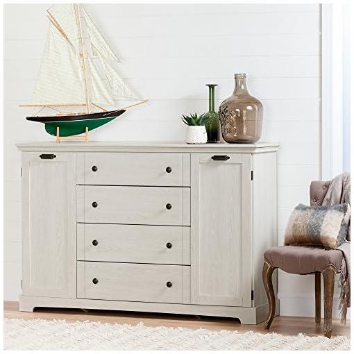 Bedroom South Shore Avilla 4-Drawer Dresser with 2 Cabinet Doors, Winter Oak dresser