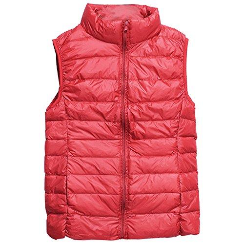 Inverno Maniche Rossa Senza Bozevon Capispalla Con Autunno Donna Giacca Giubbotto Impermeabile Cappotto Cerniera amp; Antivento fCq5C