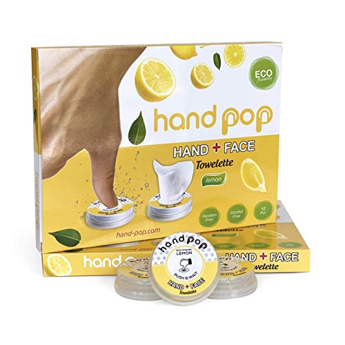 Hand Pop, Hand Wipes, Lemon Scent, 24 Single Use Wet Wipes Towelette, Alcohol Free Hand Wipes, Super Convenient…