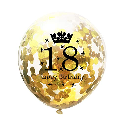 Gbell  Transparent Color Confetti Balloons for Kids,12 Inch Confetti Air Balloons 5X/Set Latex Ballute for Party Supplies Birthday Parties Anniversary -