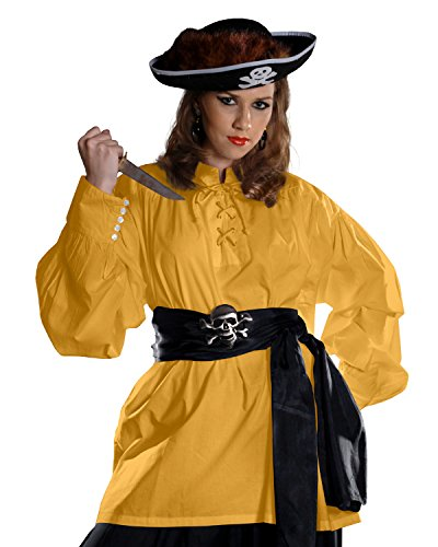 Medieval Pirate Costume Grace O' Malley Poet Shirt C1010 (Gold, ()