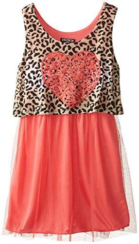 XOXO Big Girls' Heart Sleeveless Dress, Coral Concorde, Small