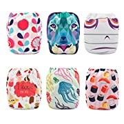 Babygoal Baby Reusable Cloth Diapers,One Size Adjustable Washable Pocket Nappy for Girl, 6pcs Diapers+6pcs Microfiber Inserts+4pcs Bamboo Inserts 6FG04