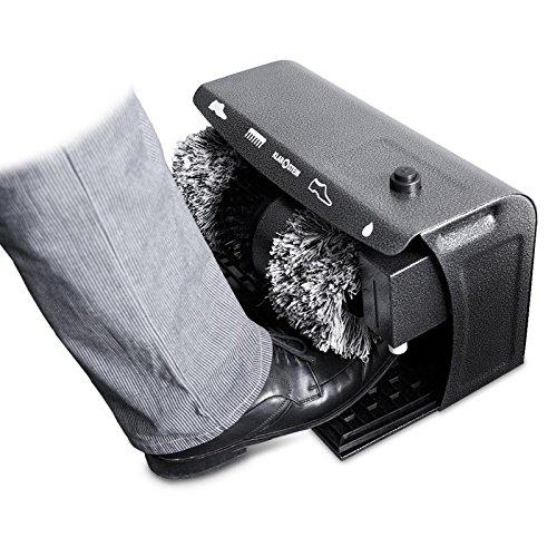 Klarstein 17C Schuhputzmaschine Polierer (120 Watt, Bürsten für helle und dunkle Schuhe, Grobschmutz-Bürste, Schuhcremespender) grau