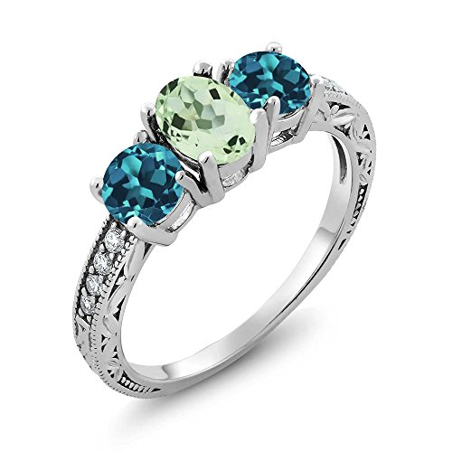 1.87 Ct Oval Green Amethyst and London Blue Topaz 925 Sterling Silver Ladies 3-Stone Ring (Ring Size 7) (3 Stone Ring Design)