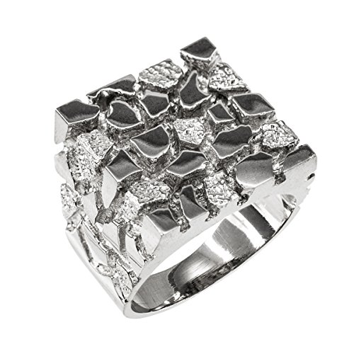 Men's 925 Sterling Silver Four Corner Square Top Nugget Ring (Size 10)