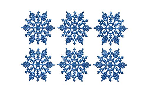 Sea Star 3inch Blue Plastic Snowflake Ornaments 24pcs Tiny Sparkling Iridescent Glitter Snowflake Ornaments on String Hanger for Decorating,Chirstmass Tree,Crafting and Embellishing (3inch, Blue) -