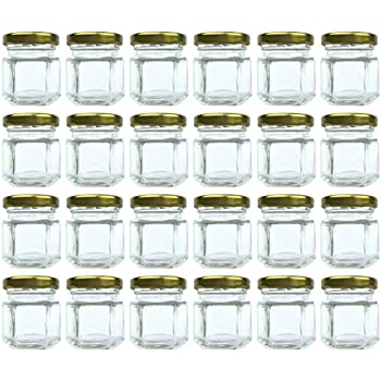 1.5 oz Hexagon Jars, 24 Piece Set Mini Glass Favor Jars for Spices, Honey, Jelly & More ~ Airtight, Screw On & Safety Button Lids ~ Perfect for Canning, Crafts, Weddings & Baby Showers