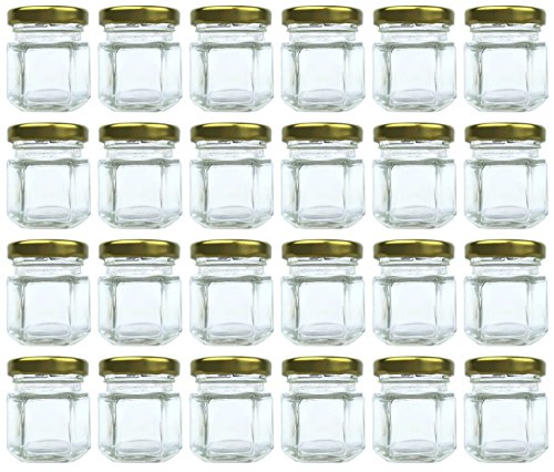 1.5 oz Hexagon Jars, 24 Piece Set Mini Glass Favor Jars for Spices, Honey, Jelly & More ~ Airtight, Screw On & Safety Button Lids ~ Perfect for Canning, Crafts, (Custom Magnetic Buttons)