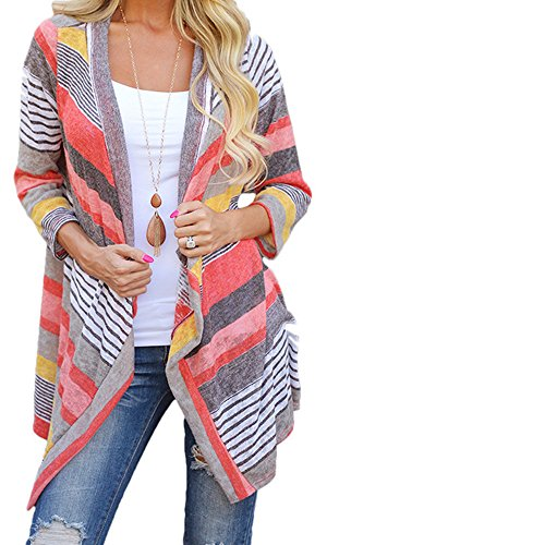 Lisingtool Women's Irregular Stripe Shawl Kimono Cardigan Tops Cover Up Blouse (Medium) Hook Ups Shirts