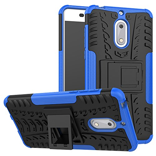 Nokia 6 Case, Skmy Shockproof Impact Protection Tough Rugged Dual Layer Protective Case Cover with Kickstand for Nokia 6 (Blue) by Skmy (Image #6)