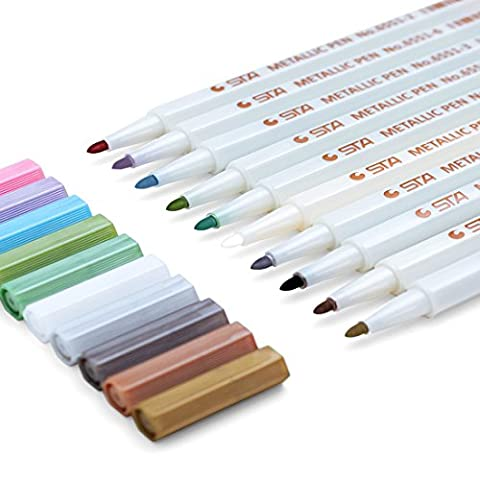 Paint Markers Pens Set - 10 Colors of Watercolor Daubers For Card Making, DIY Photo Album, Kids, Boys, Girls, Man, - Wood Photo Album Book