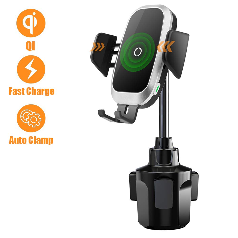 [Upgraded] Cup Holder Phone Mount Wireless Car Charger, NeotrixQI Auto Clamping Qi Fast Charging Adjustable Phone Mount Compatible with iPhone Xs Max/XR/Xs/X/8 Plus,Samsung Galaxy S10 S9 S8 Plus by NeotrixQI