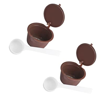 Konesky 2Pcs Cápsula Reutilizable Recargable del café Cápsulas de Dolce Gusto para Nescafe Genio Piccolo Esperta