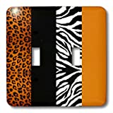 3dRose lsp_35442_2 Double Toggle Switch with Orange/Black/White Animal Print Leopard and Zebra