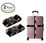 SWEET TANG Add A Bag Luggage Straps, Suitcase Belt Golden Retriever Dogs Travel Accessories 2-Pack