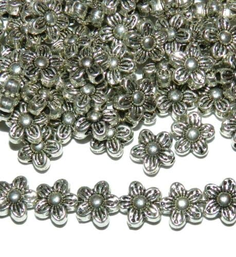 (MBL7137 Silver 9mm 5-Petal Flat Flower Metal Spacer Beads 50pc Crafting Key Chain Bracelet Necklace Jewelry Accessories Pendants)