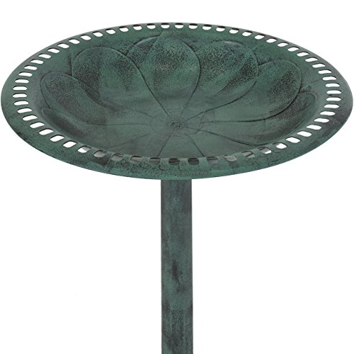 Best Choice Products Outdoor Garden Pedestal Bird Bath Vintage Decor - Green