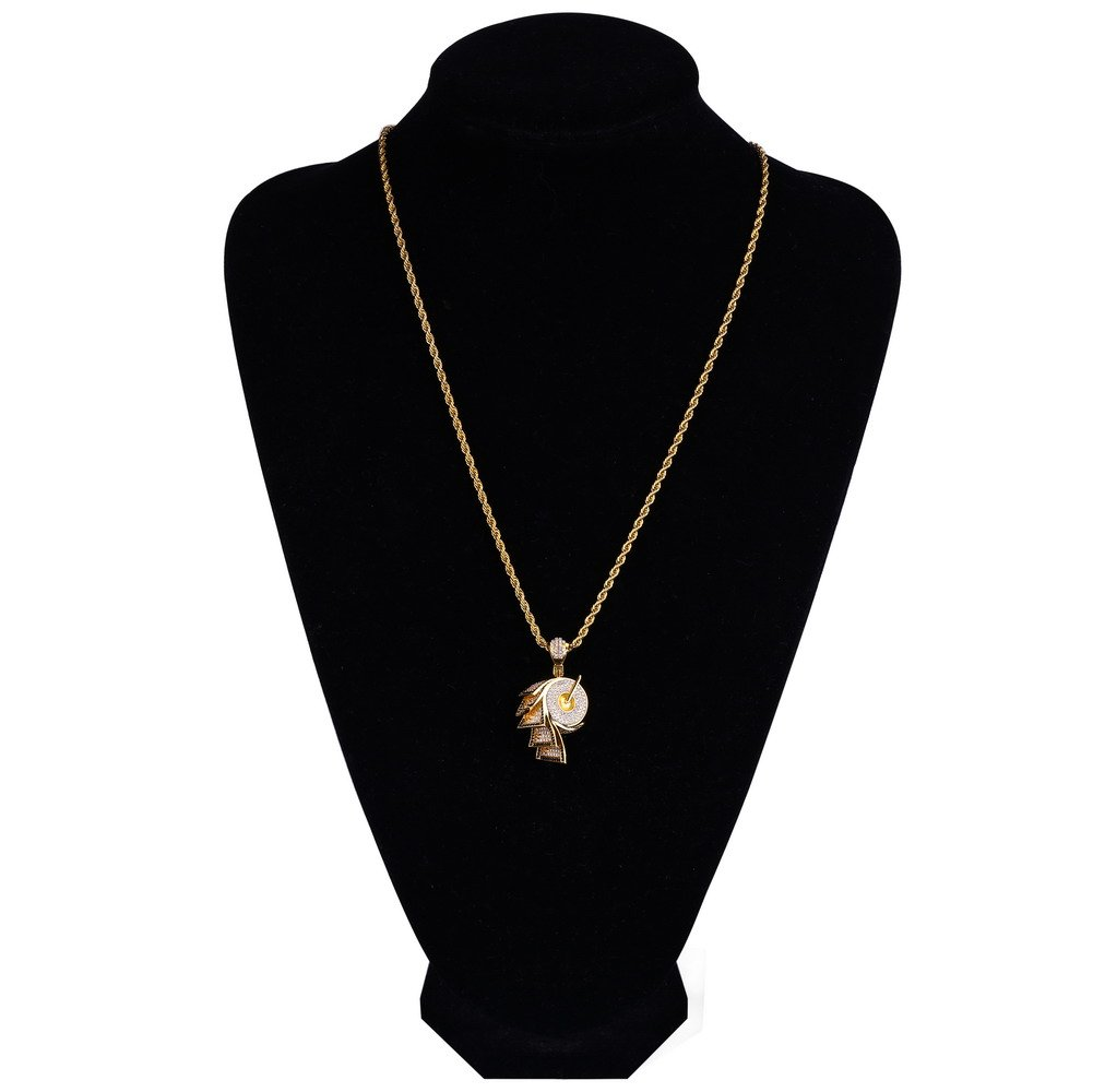 JINAO 18k Gold Plated ICED Out Toilet Roll Dollar Sign Pendant Necklace by JINAO (Image #5)