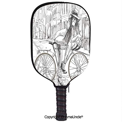 AmaUncle Neoprene Sports Pickleball Paddle Cover Sleeve,Personalized Sexy Outrageous Young Lady Chewing Gum on Her Bike on Street Sketchy Illustration Racquet Cover,Lightweight,Durable and - Personalized Chewing Gum