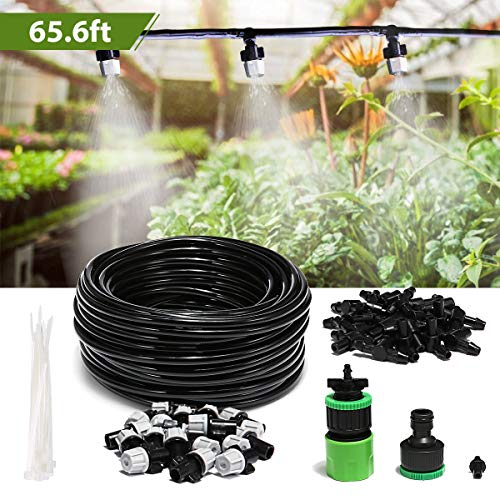 AGSIVO 20M Misting System Kit for Outdoor Swimming Pool Cooling Garden Greenhouse Irrigation with 20pcs Nozzles for Plant Watering