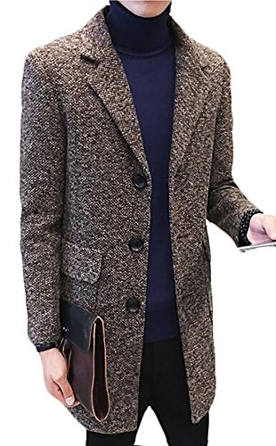 Fulok Mens Winter Single-Breasted Slim Tweed Warm Outwear Pea Coat Coffee XXS (Tweed Overcoat)