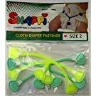 Snappi Cloth Diaper Fasteners - Toddler Size 2 - Pack of 4 (2 Mint Green, 2 Dayglo Yellow)