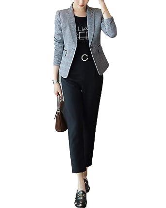 ShiFan Mujeres Blazer De Cuadros Elegante Oficina Traje De ...