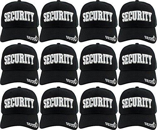 Security Hat Adjustable Baseball Cap - 12 Pack