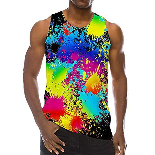 (POQOQ Men's Summer Fashion 3D Colourful Printing Sleeveless Leisure Sports Vest Tops M Black)