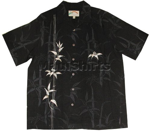 Paradise Found Mens Bamboo Courage Jacquard Embroidered Shirt Black M