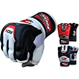 RDX Cow Hide Leather Tech MMA UFC Grappling Gloves Fight Boxing Punch Bag