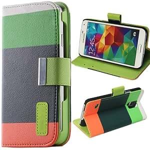 Ceros Wallet PU Leather Flip Case with Credit Card Holder For Samsung Galaxy S5 SV I9600, Green/Dark Green/Orange