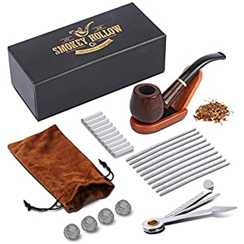 Tobacco Pipe   Pipes for Smoking Tobacco   Stylish, Cool and Distinguished Starter Pipe Kit   The Perfect Gift for a Classy Gentleman by Smokey Hollow Co