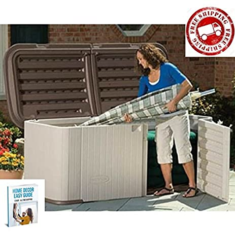 Deck Storage Box Outdoor Containers Patio Storage Cabinet Bench Chest Unit  Resin Large U0026 EBook By