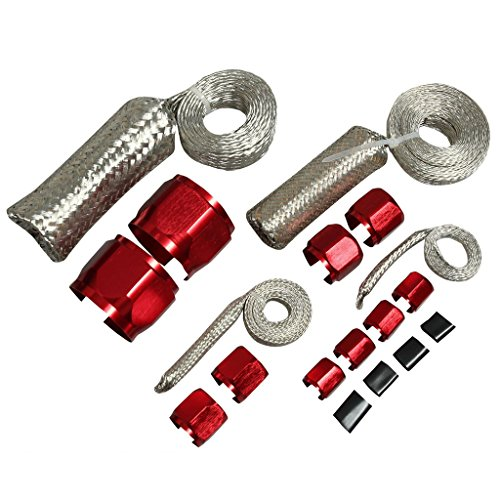 BLACKHORSE-RACING Universal Stainless Steel Braided Dress-Up Hose Cover Kit Red ()