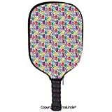 AmaUncle 3D Pickleball Paddle Racket Cover Case,Cartoon Style Lively Colored Friendly Cheerful Characters with Hearts Happiness Love Decorative Customized Racket Cover with Multi-Colored,Sports Access