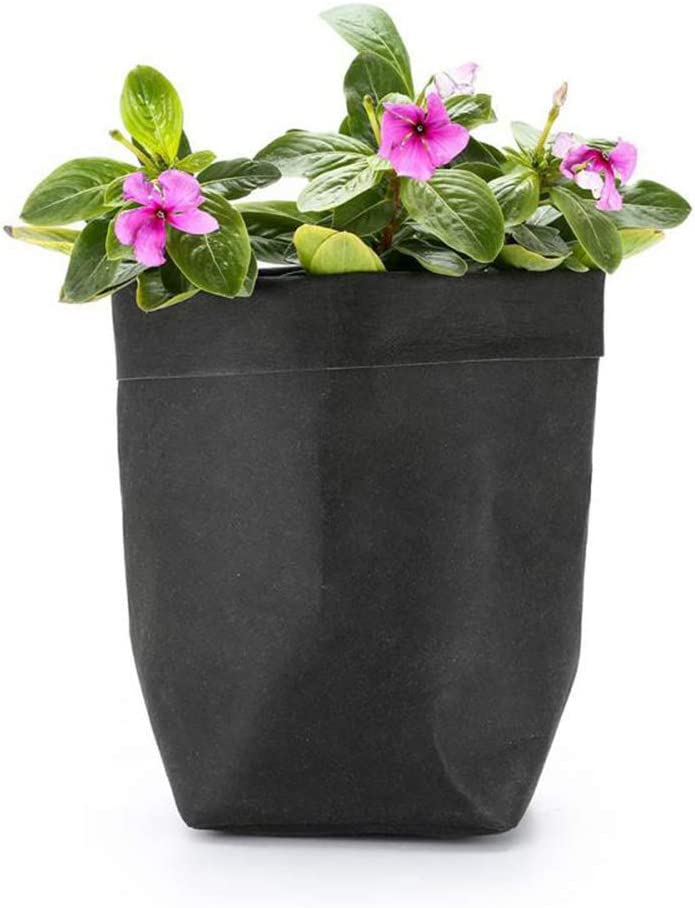 AKOAK 1 Pack Washable Kraft Paper Bag, Multifunctional Home Wear-resistant Storage Bag, Shopping Bag, Plant Flower Pot, Reusable Eco-friendly Food Bag (Black)