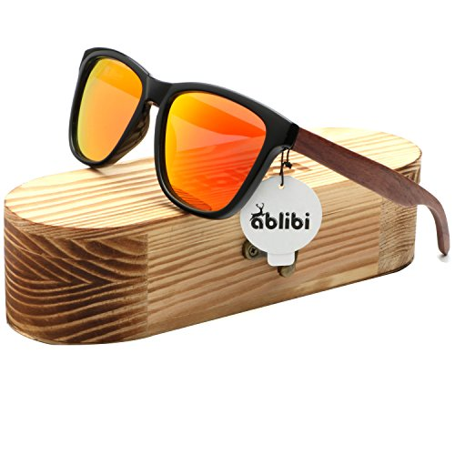 Ablibi Bamboo Wooden Wayfarer Sunglasses Polarized Driving Eyewear in Wood Box (Rose Wood, - Golden Sunglasses Wood