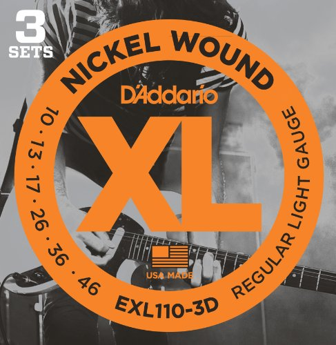 - D'Addario EXL110-3D XL Nickel Wound Electric Guitar Strings, Regular Light Gauge - Round Wound with Nickel-Plated Steel for Long Lasting Distinctive Bright Tone and Excellent Intonation-10-46, 3 Sets