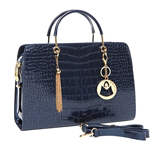 MG Collection CARA Blue Faux Patent Leather Crocodile Embossed Satchel Bag