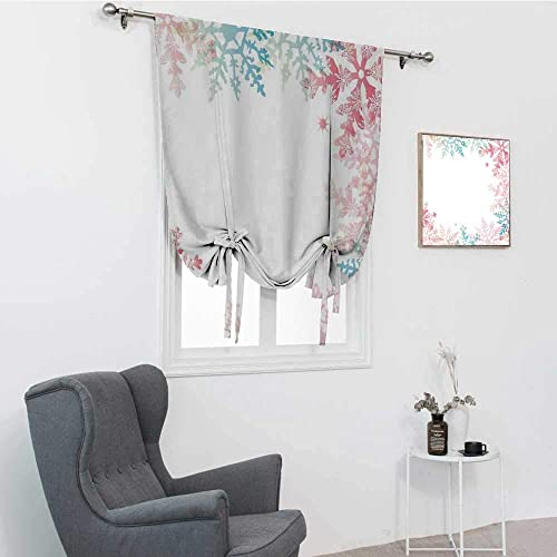 GugeABC Winter Window Shades, Abstract Winter Inspired Multicolored Snowflake Design Soft Color Palette Image Window Covering, 48 x 64