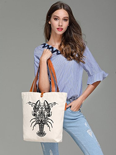 So'each Women's Lobster Geometric Graphic Top Handle Canvas Tote Shoulder Bag