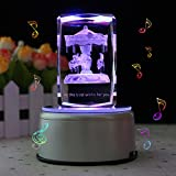 LIWUYOU Personalized Custom Text Rectangle Crystal 3D Carousel Colorful LED Light Rotating Musical Box, Carousel, Music Base