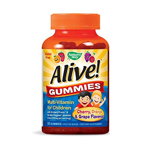 Nature's Way Alive! Children's Premium Gummy Multivitamin, Fruit & Veggie Blend (150mgper serving), Gluten Free, Made with Pectin, 90 Gummies (Packaging May Vary)