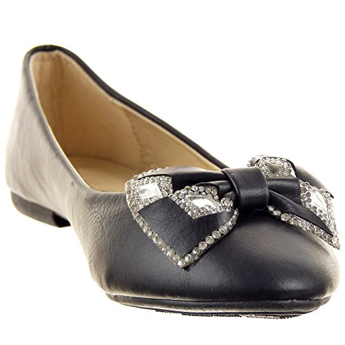 Sopily - Scarpe da Moda ballerina alla caviglia donna strass papillon Tacco a blocco 1 CM - Nero