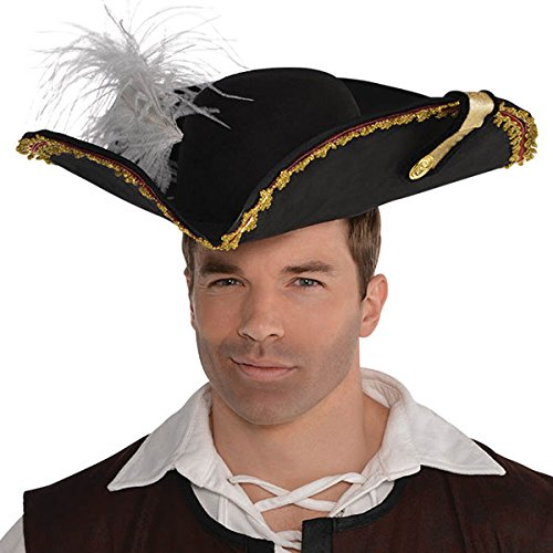 Suede Pirate Hat (Amscan Pirate Captain's Hat Head Wear/Gear)